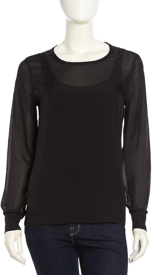 Equipment Long Sleeve Chiffon Blouse Black, $99 | Last Call by