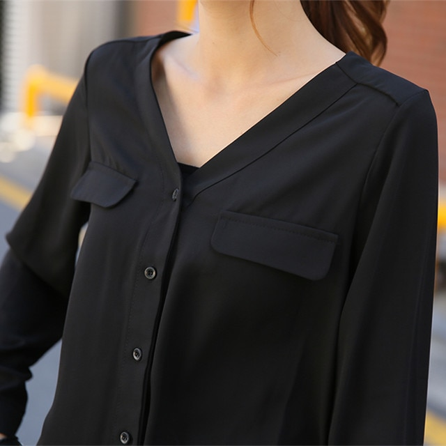 New 2015 summer blusas long sleeve women blouses stylish black