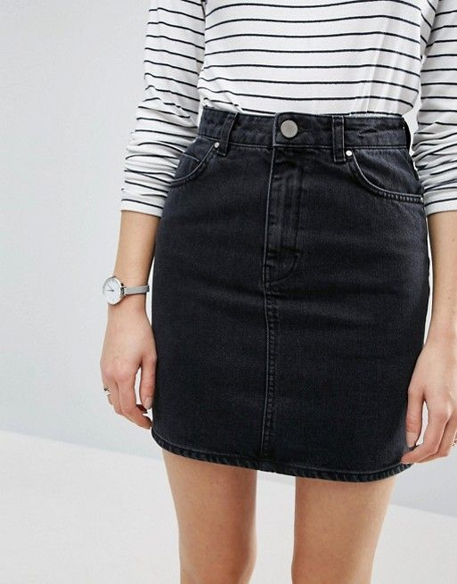 black denim skirt | striped black and white long sleeve | watches
