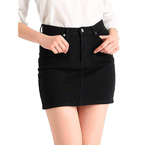 Black Denim Mini Skirt: Amazon.com