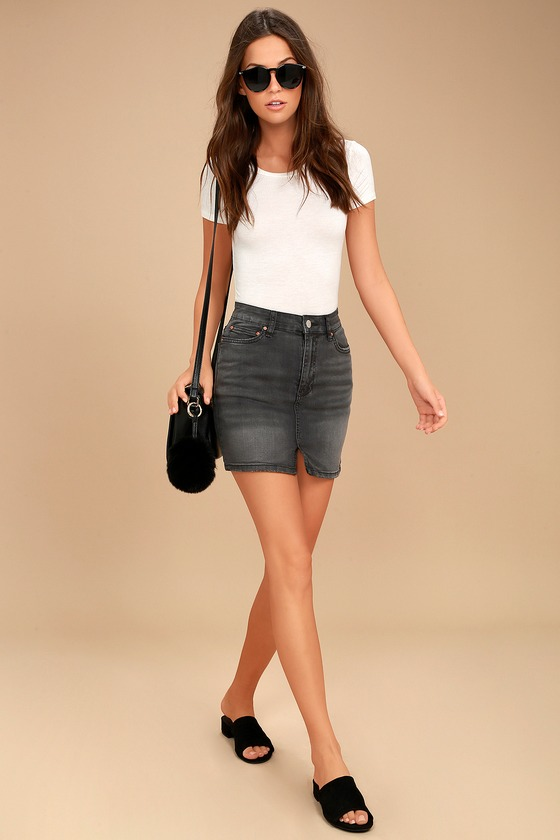 Billabong Black Magic - Washed Black Denim - Denim Skirt