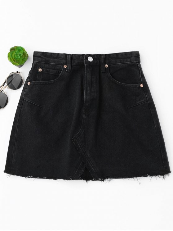 Go with the Black denim skirt   trend