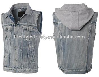 Black Denim Vests Mens Jean Vest Hoodie Blue Jean Vest For Women