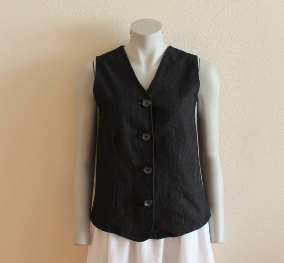 Black Denim Vest Women's Vest Denim Jeans Vest Black | Etsy