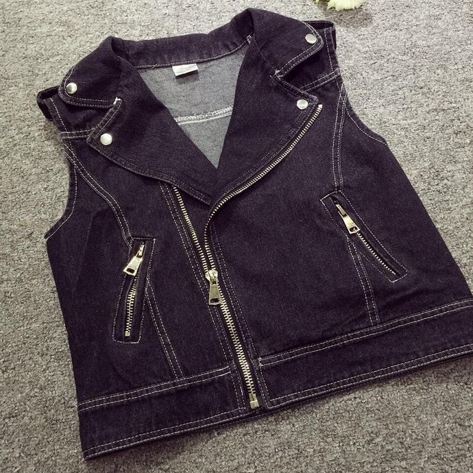 6xl 5xl 4XL plus size loose Womens Denim Vests black white blue