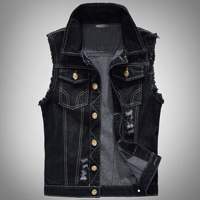 Big Size Ripped Vintage Cowboy Waistcoat Male Sleeveless Jean Jacket