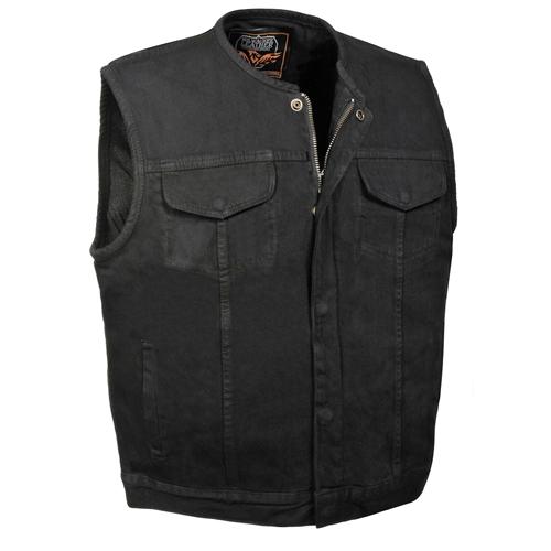 Men's Collarless Black Denim Motorcycle Club Vests On Sale