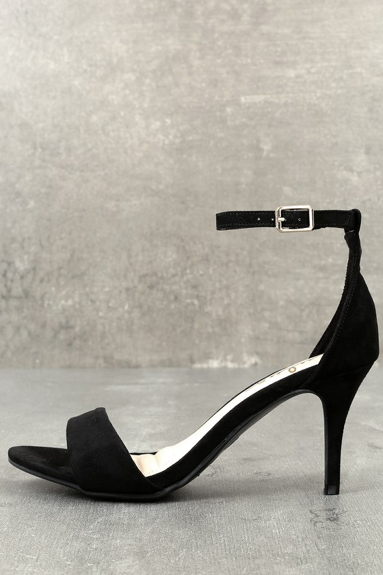 Black Heels - Single Sole Heels - Black Ankle Strap Heels