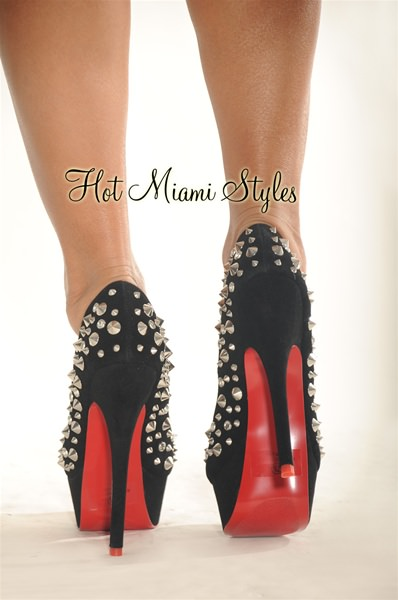 Black Silver Studded High Heel Red Bottom Pumps