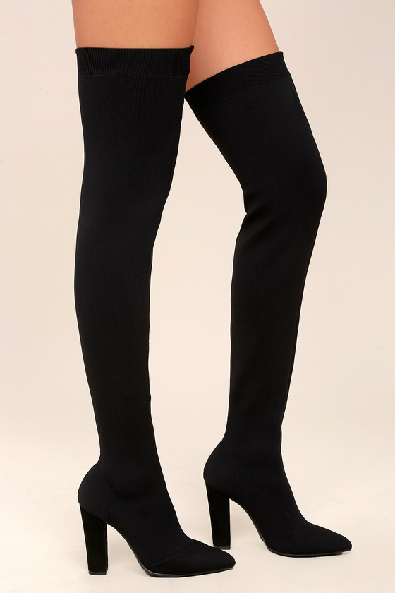Sexy Black Over the Knee Boots - Knit Thigh High Boots