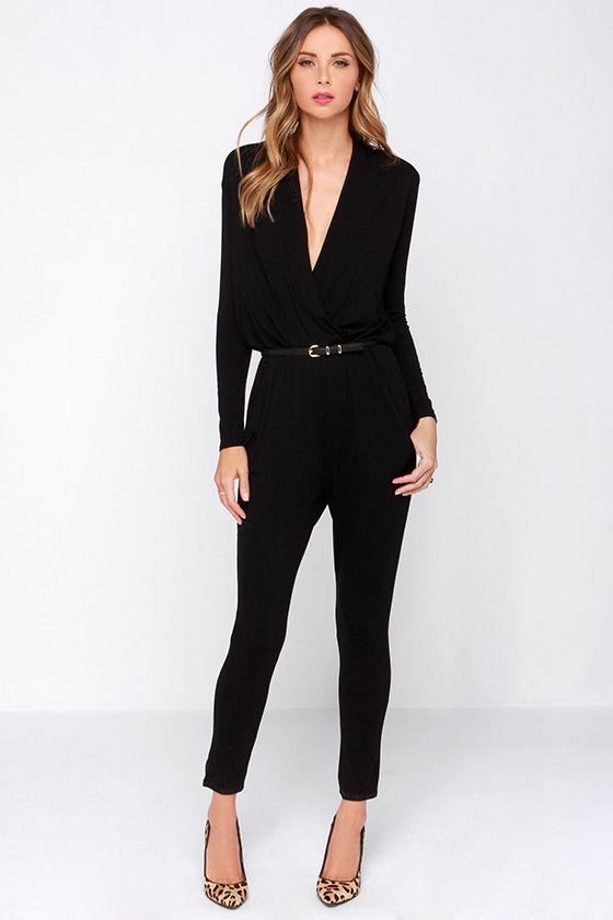 Cool Black Jumpsuit - Surplice Jumpsuit - Long Sleeve Jumpsuit - $34.00