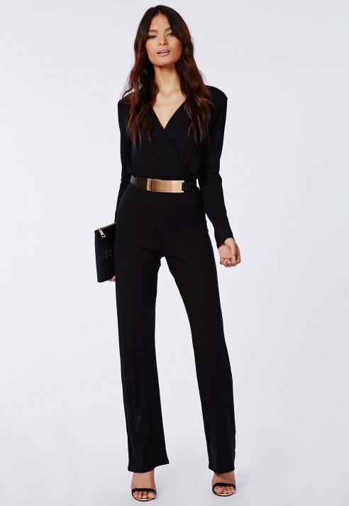 Lyst - Missguided Deliana Long Sleeved Wrap Wide Leg Jumpsuit Black