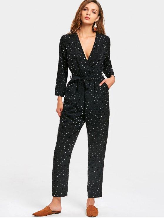29% OFF] 2019 Polka Dot Print Long Sleeve Jumpsuit In BLACK M | ZAFUL