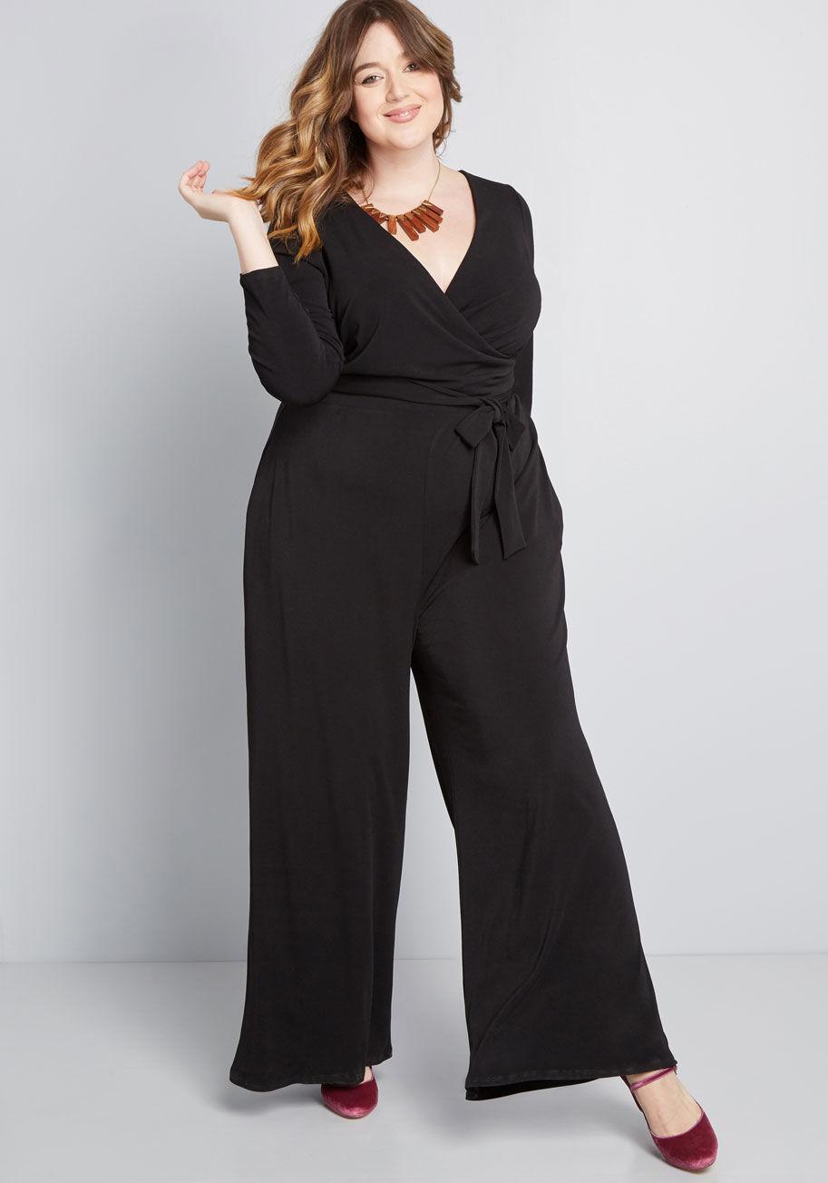 ModCloth Elegant Everywhere Long Sleeve Jumpsuit Black | ModCloth