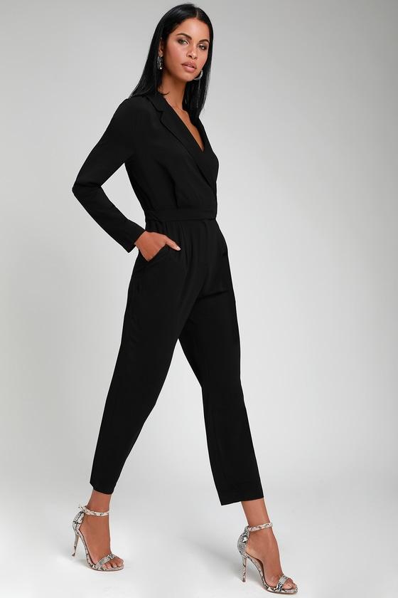 Chic Collared Jumpsuit - Long Sleeve Jumpsuit - Office Jumpsuit