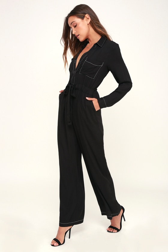 Black long sleeve jumpsuit for   you