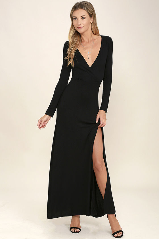 Lovely Black Maxi Dress - Long Sleeve Dress - Surplice Maxi - $48.00