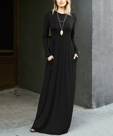 Black Long-Sleeve Maxi Dress - Women | Zulily