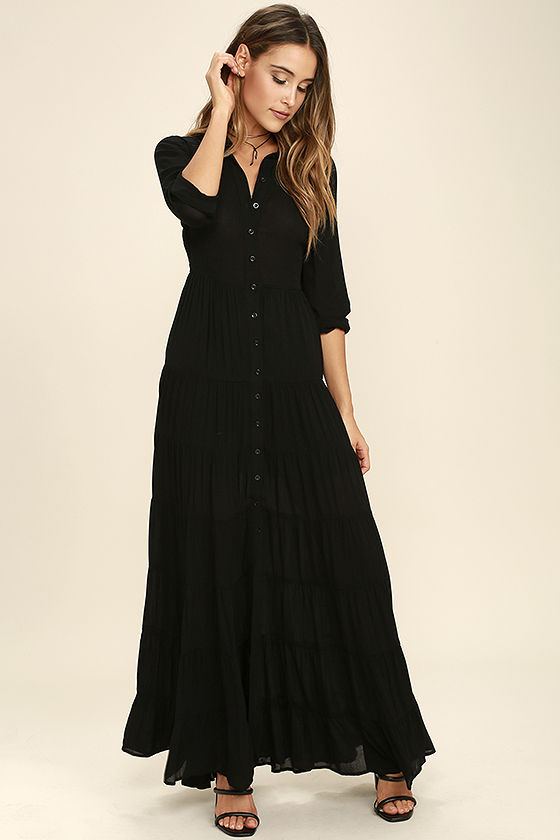 Boho Dress - Black Dress - Maxi Dress - Long Sleeve Dress - $74.00