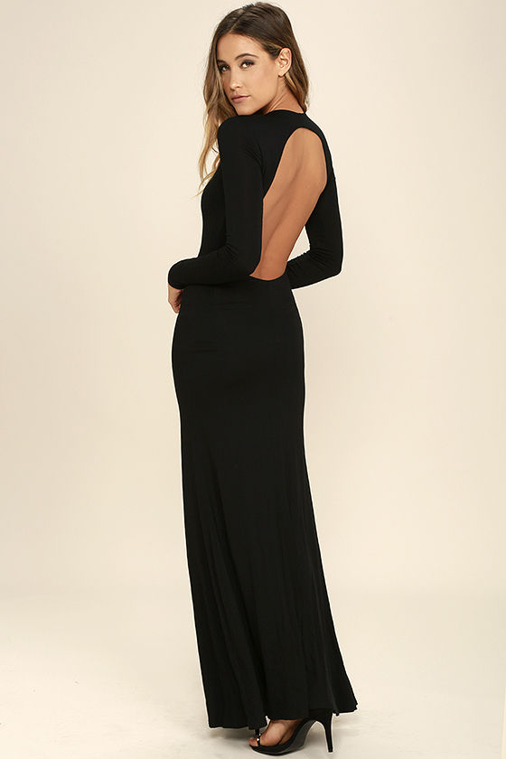 Sexy Black Backless Dress - Backless Maxi -Long Sleeve Dress