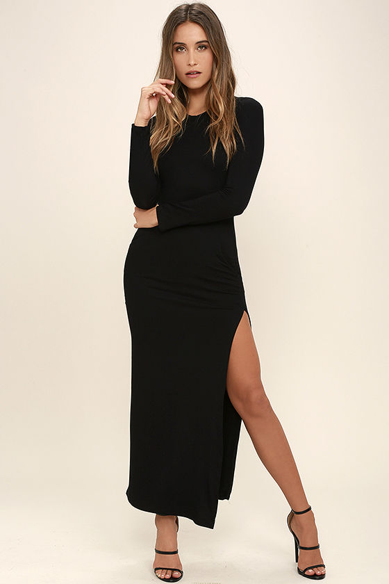 Chic Black Long Sleeve Dress - Jersey Knit Maxi Dress - Bodycon Maxi