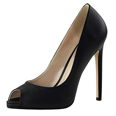 Amazon.com | Summitfashions Womens Black Stiletto Heels Peep Toe