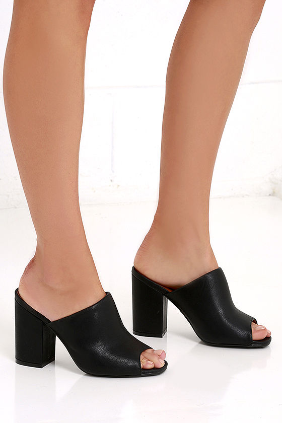 Chic Black Heels - Peep-Toe Mules - Peep-Toe Heels - $27.00