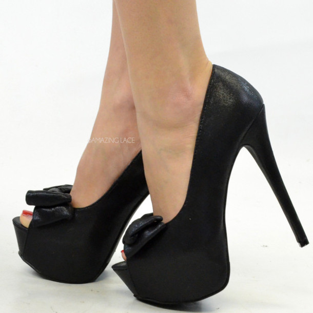 shoes, peep toe pumps, bow heels, black heels, stilettos, peep toe