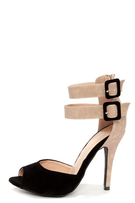 Sexy Black Heels - Peep Toe Heels - Ankle Strap Heels - $32.00