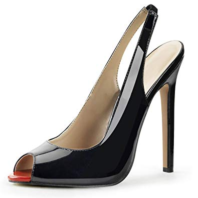 Amazon.com | Summitfashions Womens Black Slingback Pumps Peep Toe