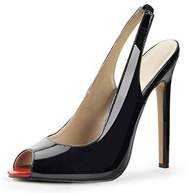 Amazon.com | Summitfashions Womens Black Slingback Pumps Peep Toe