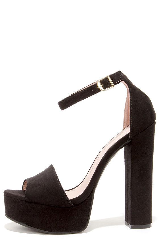Cute Black Heels - Platform Heels - Platform Pumps - $69.00