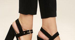 Sexy Black Heels - Black Platform Heels - Vegan Suede Heels - $39.00