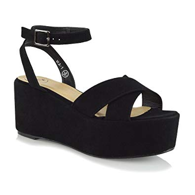 Amazon.com | ESSEX GLAM Womens Platform Heels Ankle Strap Wedge