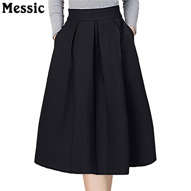 Messic Knee Length High Waist Skirt Women Summer 2018 Casual A Line