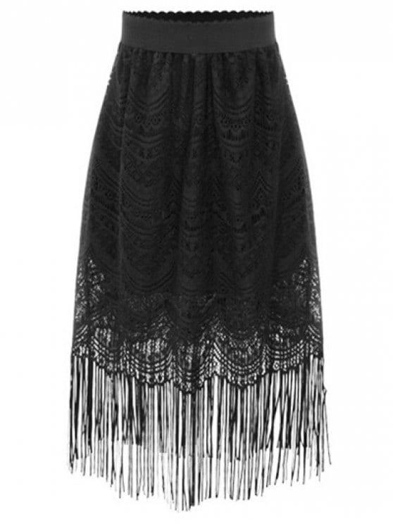 32% OFF] 2019 Black Fringe High Waist A-Line Lace Skirt In BLACK S