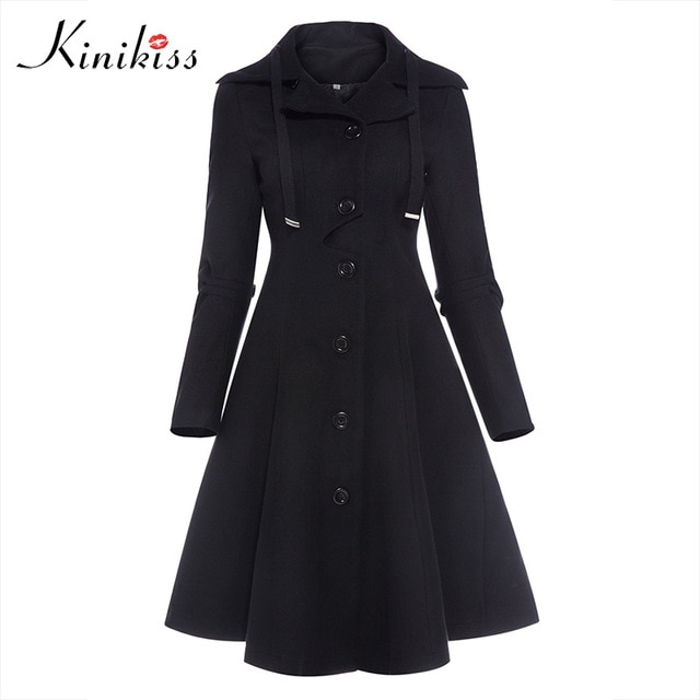 Kinikiss Women Winter Long Trench Coat Black Gothic Turn Down Collar