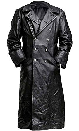 German Classic Officer WW2 Military Uniform Black Leather Trench