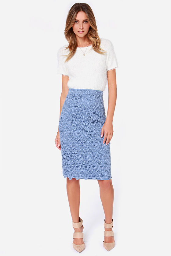 Light Blue Skirt - Pencil Skirt - Midi Skirt - $93.00