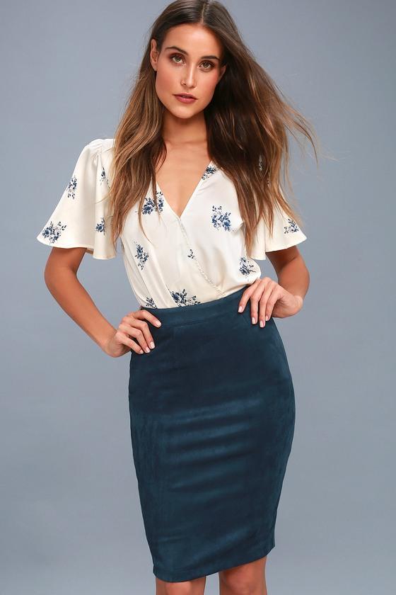 Chic Navy Blue Vegan Suede Skirt - Pencil Skirt - Midi Skirt