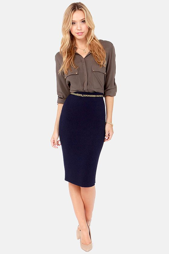 Getting Haute in Here Navy Blue Pencil Skirt | looks I love