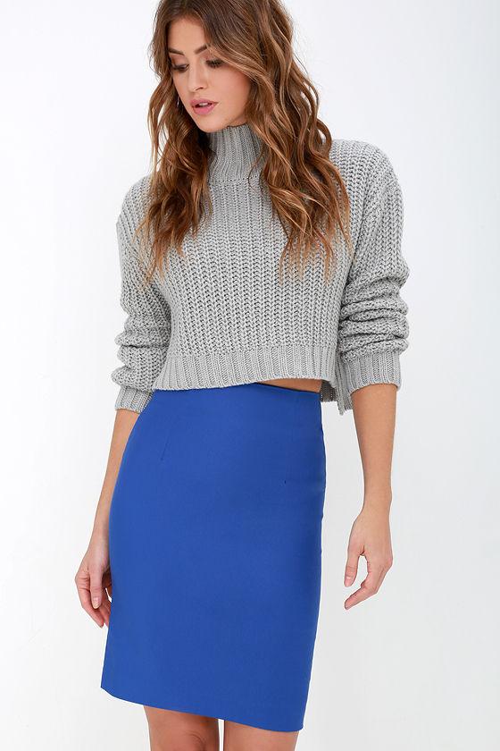 Chic Royal Blue Skirt - High-Waisted Skirt - Midi Skirt - Pencil