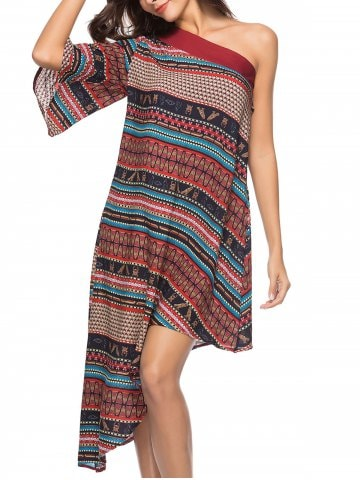 49% OFF ] 2019 Bohemian One Shoulder Ethnic Print Midi Dress