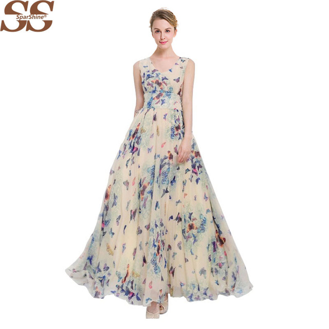 2017 Sparshine Summer Print Bohemian Dress Chiffon Maxi Dress