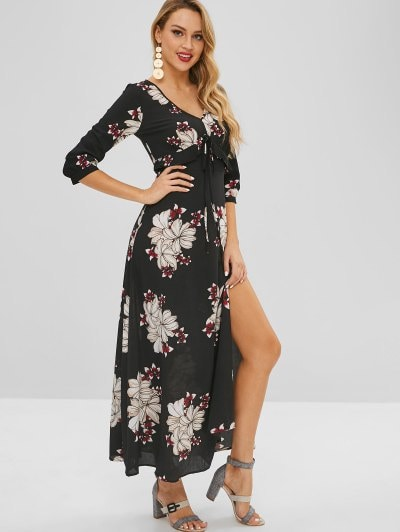 2019 Bohemian Flower Print Maxi Slit Dress In BLACK M | ZAFUL