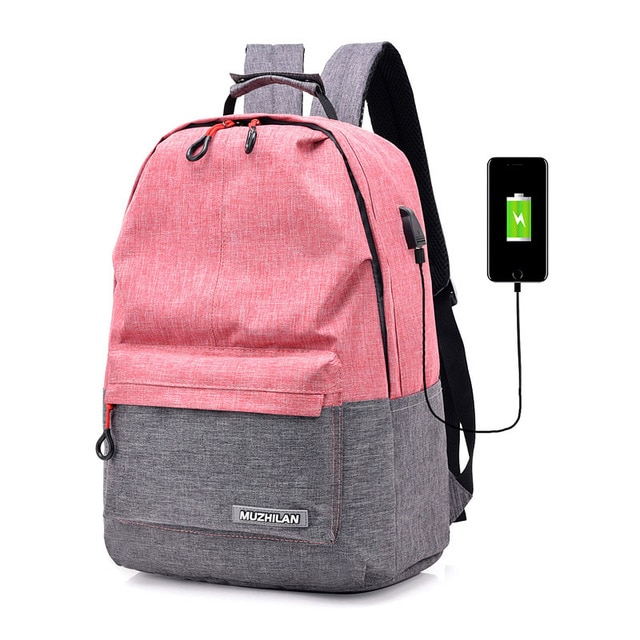 punk woman bag 15.6 laptop backpack business bagpack girl bags pink