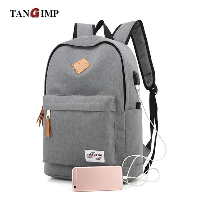 TANGIMP USB Design Backpacks Book Bags for School Man Casual