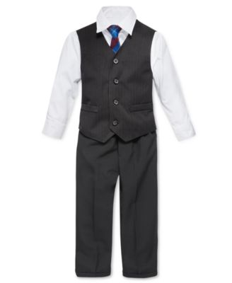 Nautica Little Boys' 4-Piece Tie, White Shirt, Pinstripe Vest, Black