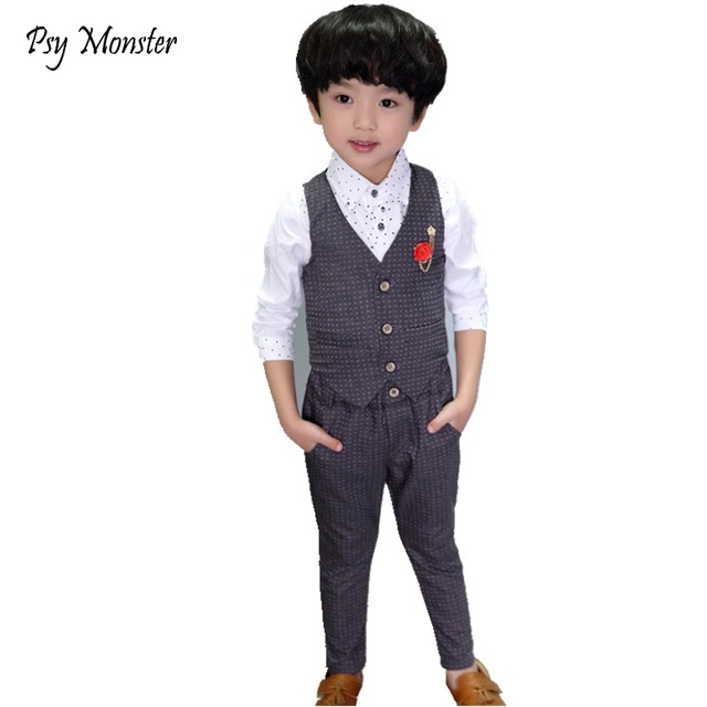 2017 Brand Fashion Boy Wedding Suit Gentle Baby Boys Vest Shirt