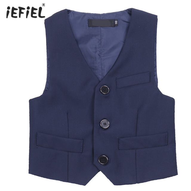 Brand New 2017 Kids Boys Vests Navy Blue Gentlemens Vest Waistcoat